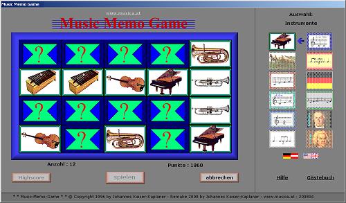 Das Music-Memo-Game ist ein Gedächtnis-Spiel mit Tonausgabe - d.h. zu jedem Bild erklingt auch ein entsprechendes Tonbeispiel
