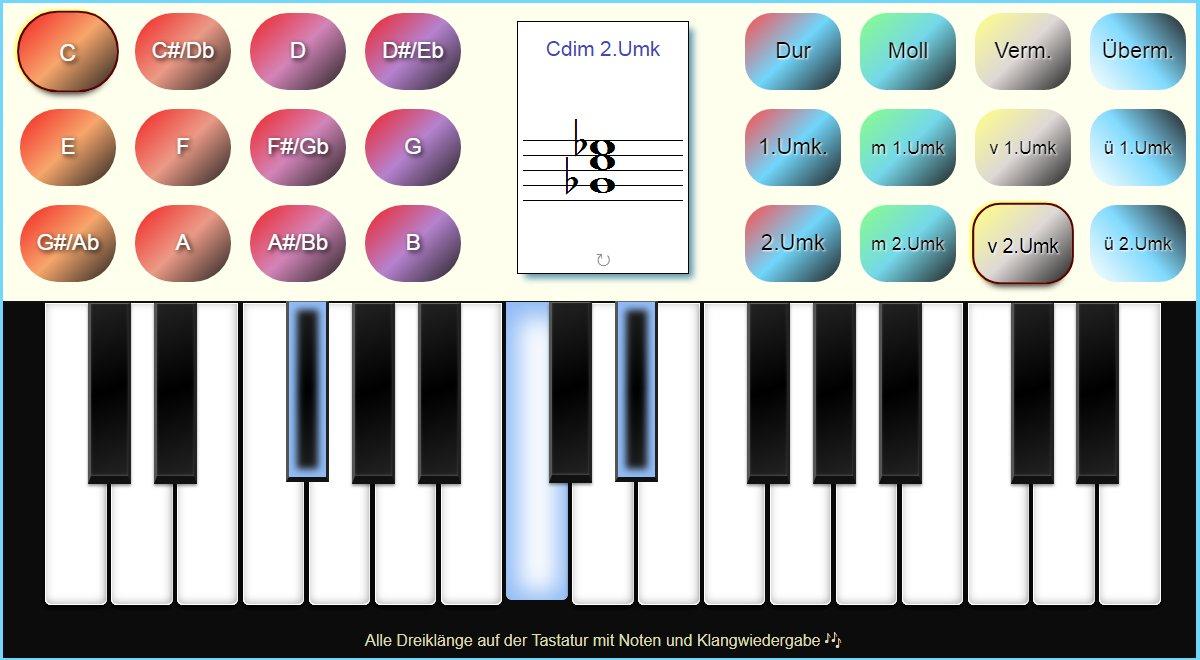 Alle Dreiklänge mit Umkehrungen am Piano Keyboard der Musiklehre Online