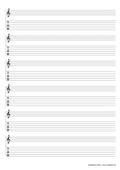 Notenpapier A4 Violinschlüssel mit TAB Tabulatur 6 Saiten 6 Systeme