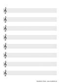 Notenpapier A4 Violinschlüssel 8 Zeilen größer (150%)